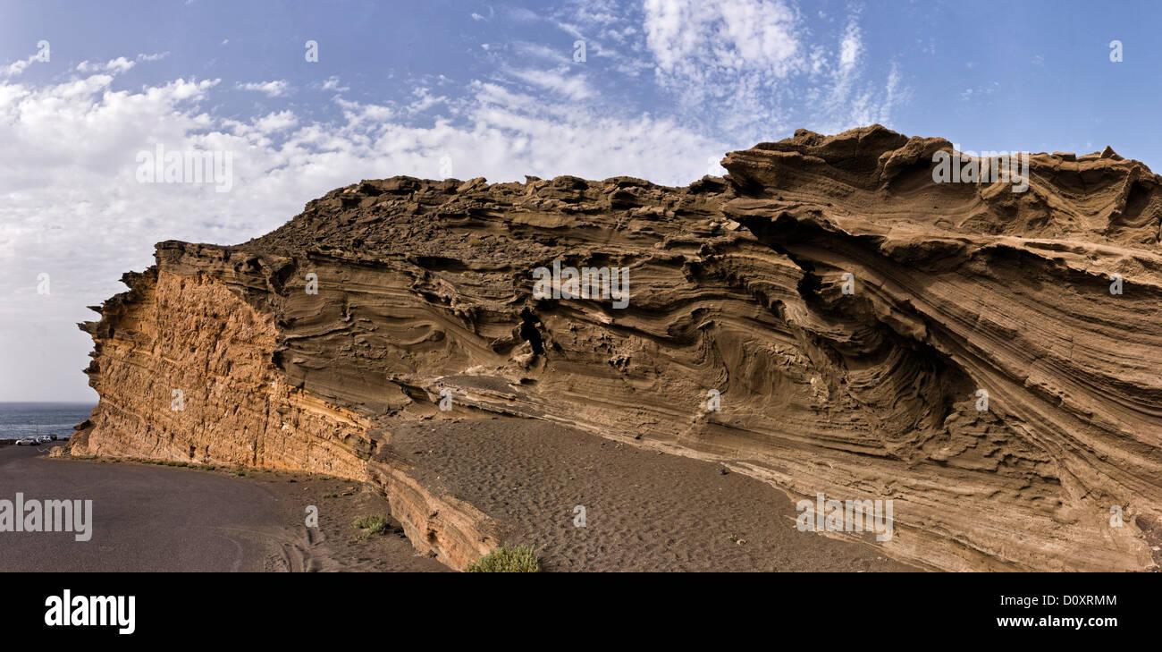 Espagne, El Golfo, Lanzarote, fou, rock formation, paysage, été, montagnes, collines, îles Canaries Photo Stock