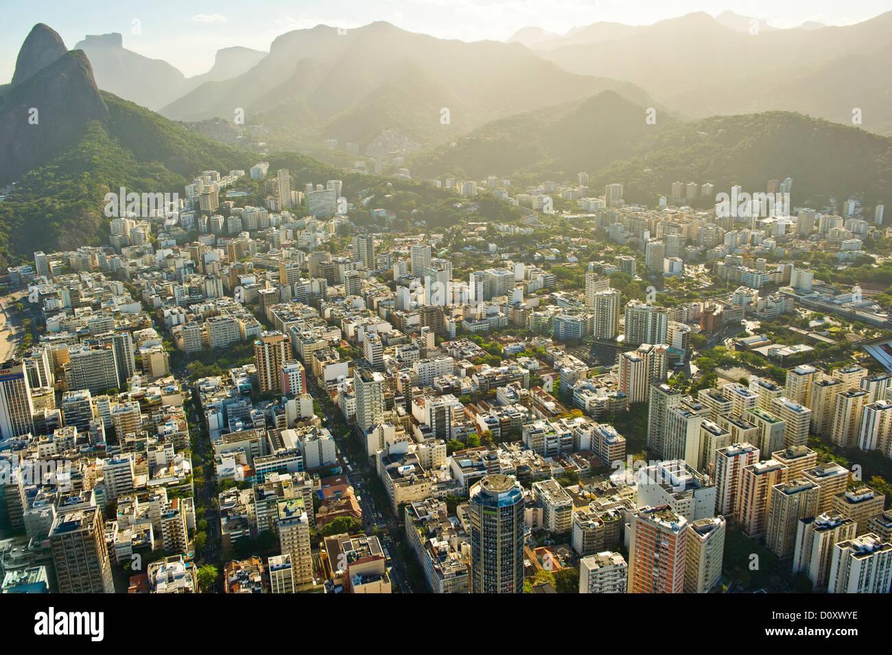Vue aérienne de quartiers de Rio de Janeiro, Brésil Photo Stock