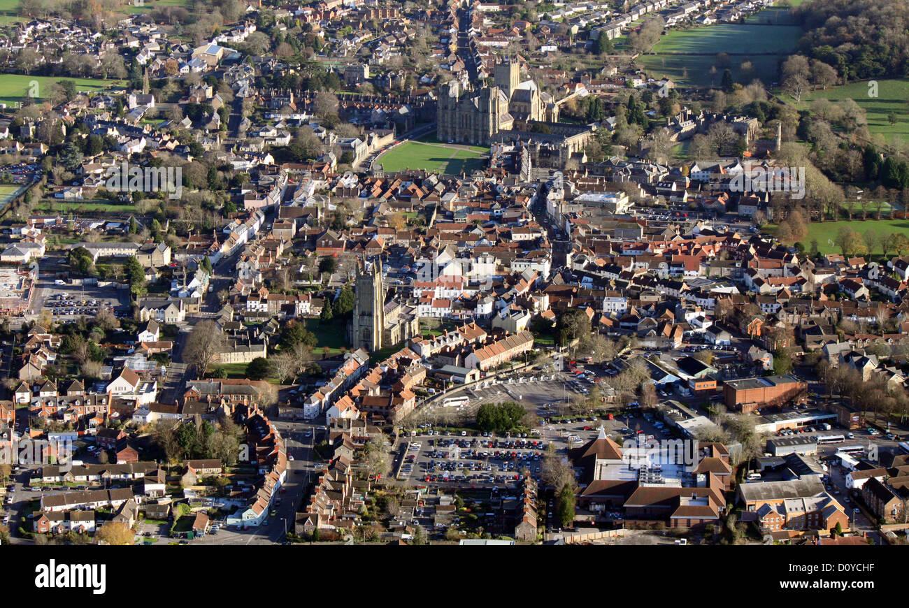 Vue aérienne de la ville de Wells dans le Somerset Banque D'Images