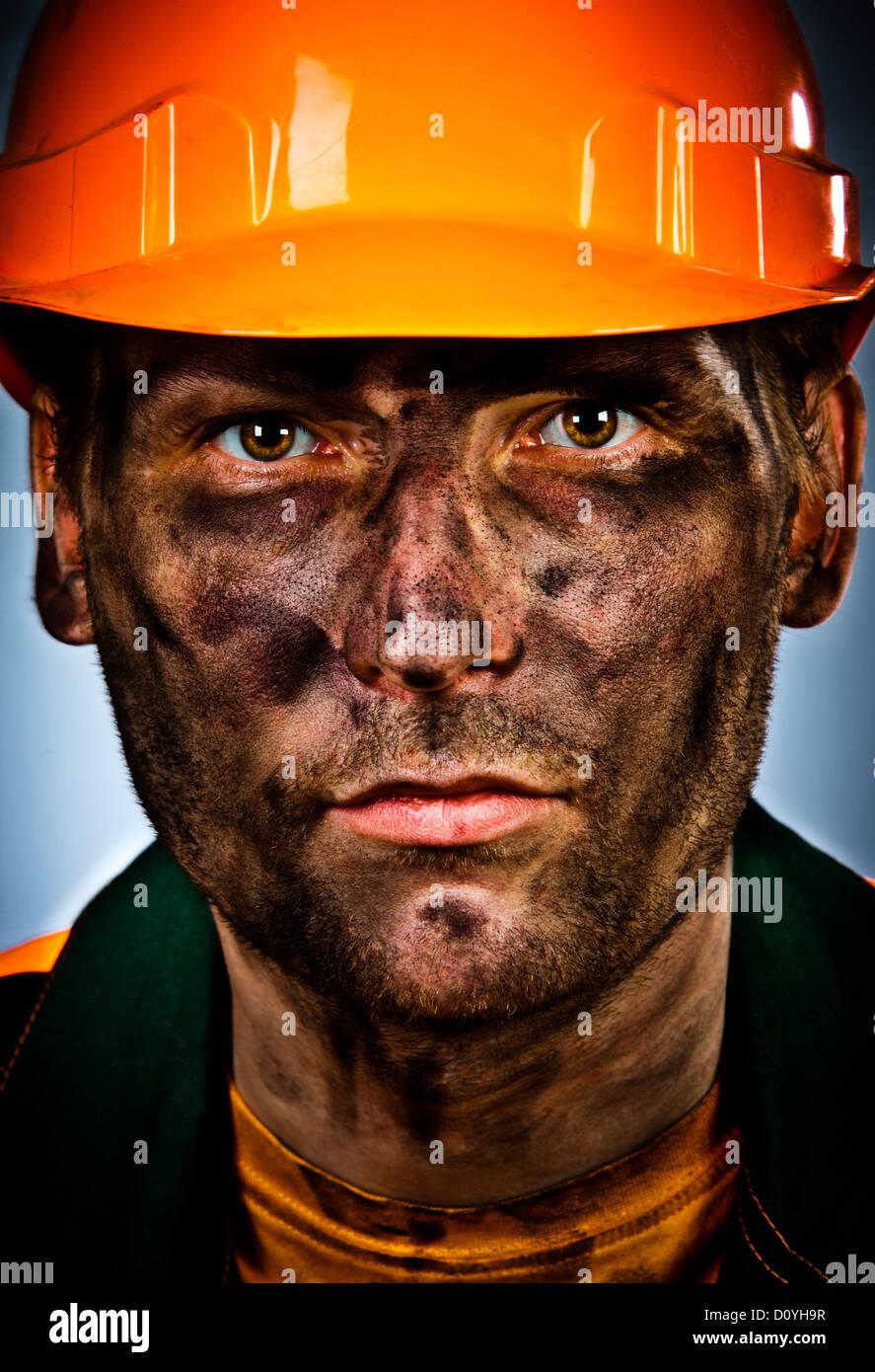 Travailleur de l'industrie de l'huile portrait Photo Stock