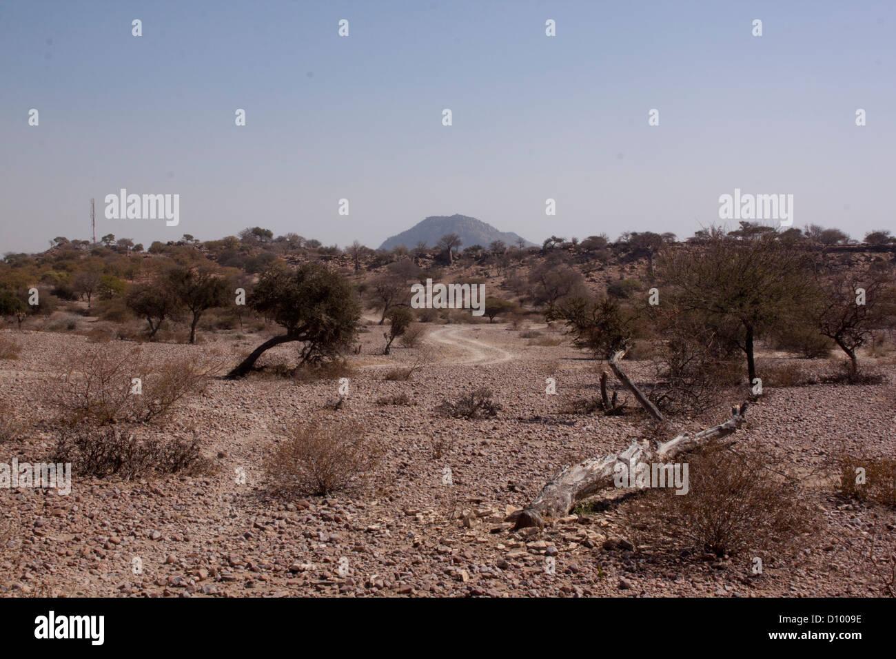 Route de terre menant à la mine de charbon Fripp par Mudimeli ville Limpopo, Afrique du Sud Photo Stock