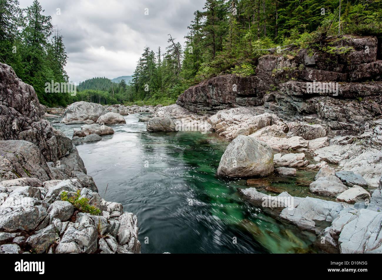 Petite rivière sur Sutton Pass, l'île de Vancouver, Canada Photo Stock