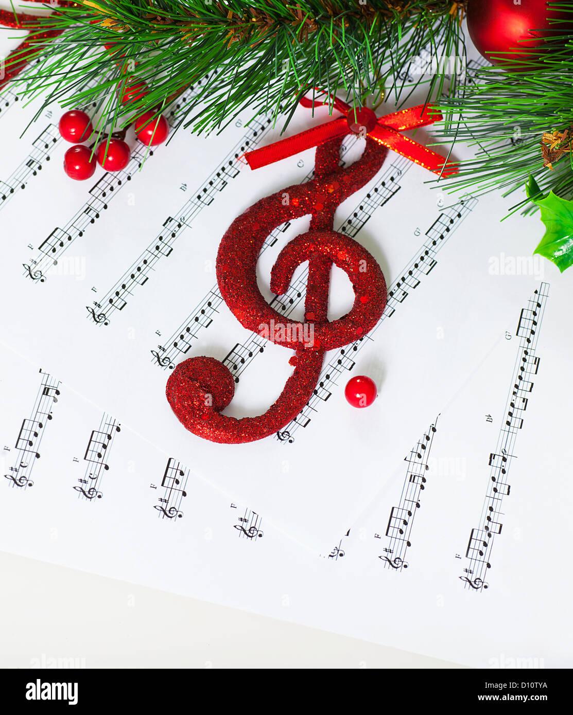 Image de f te rouge cl de sol sur les notes papier no l - Sapin de noel en anglais ...