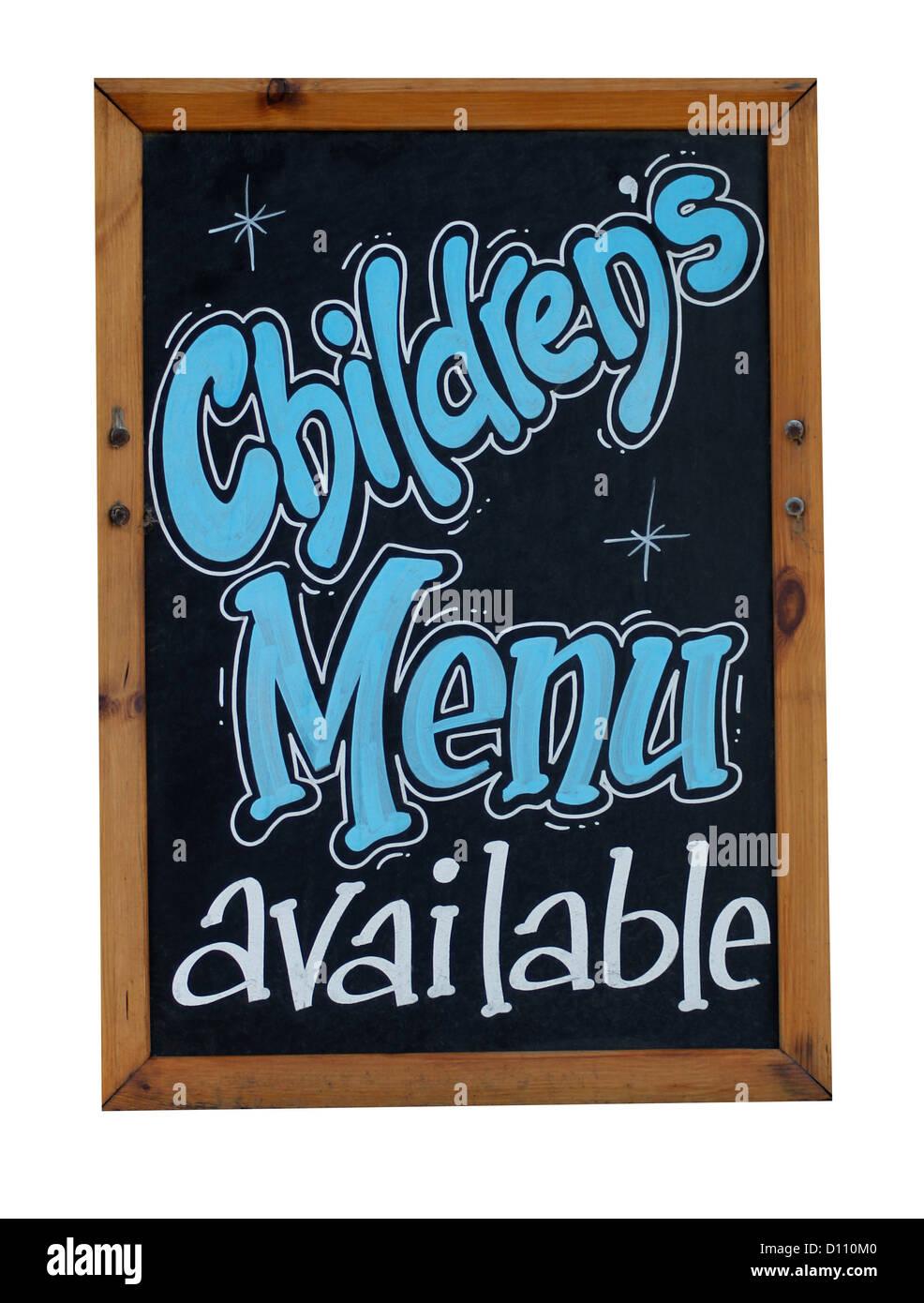 Un menu enfants est disponible ou signer des tableau noir ou tableau. Photo Stock