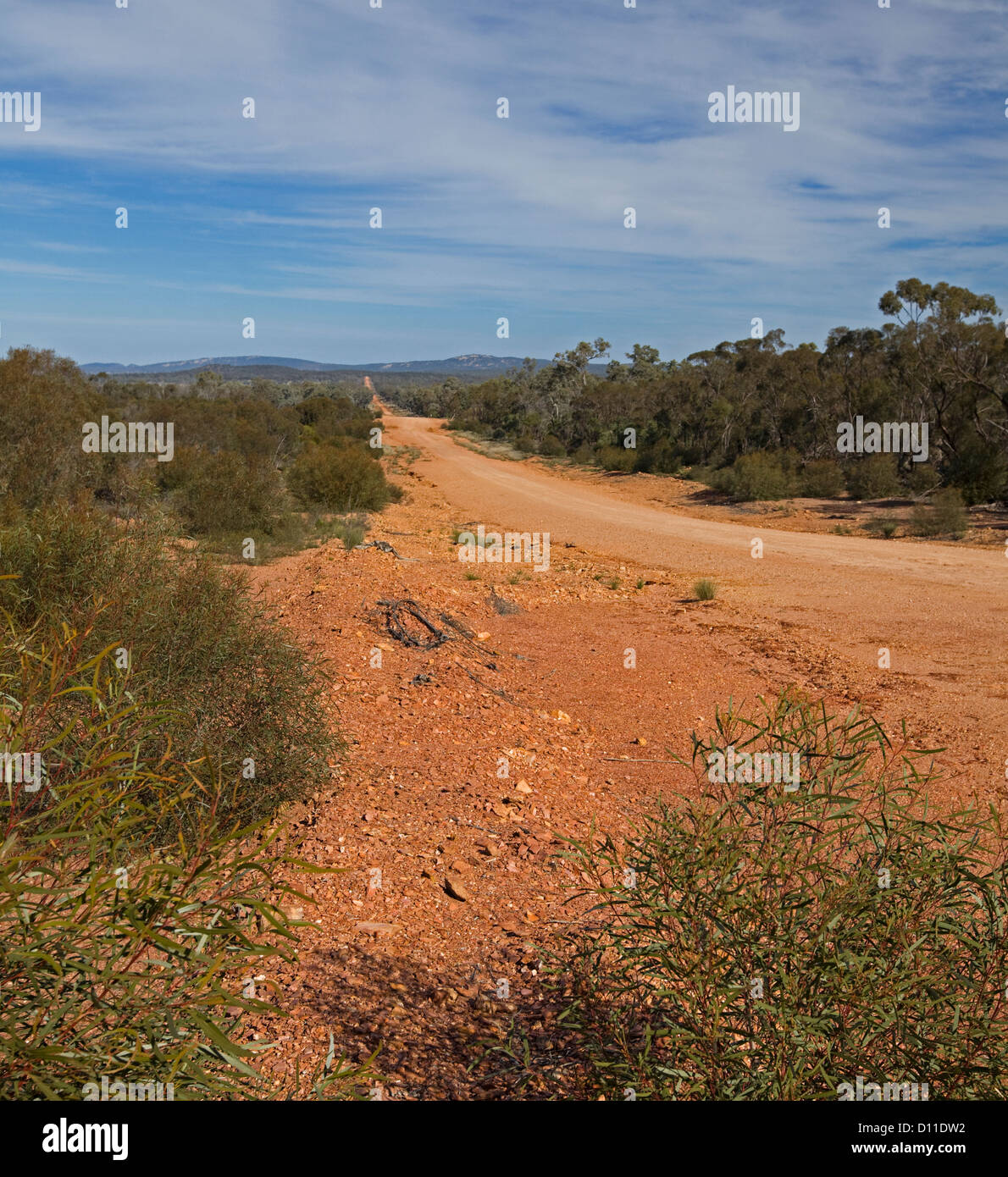 Longue ligne droite Australian Outback route à travers des forêts de faible à horizon lointain près Photo Stock