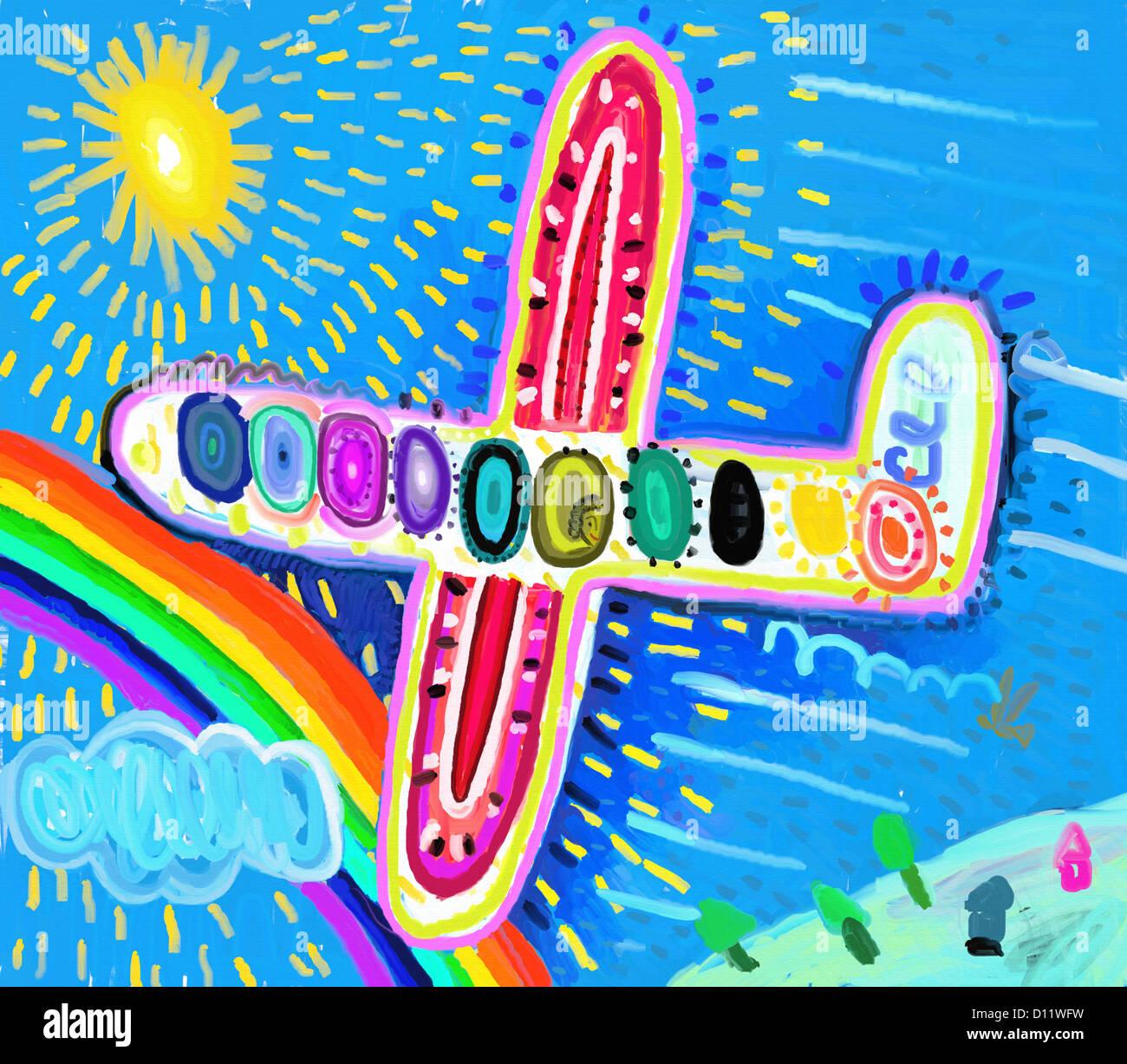 L'aéronef s'est réuni avec rainbow Photo Stock