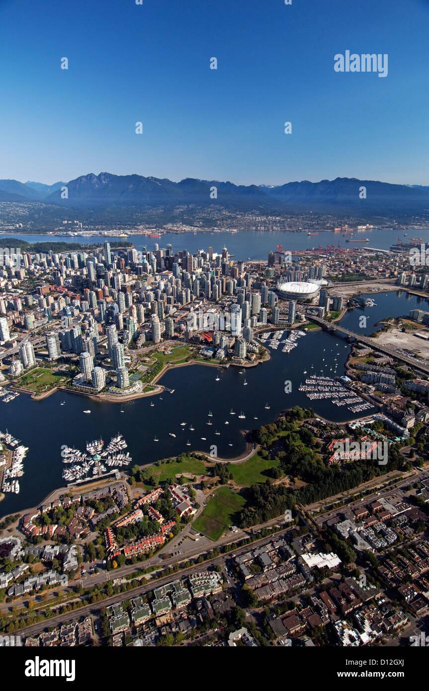 Vue aérienne du centre-ville de Vancouver, BC. Le Canada. Photo Stock