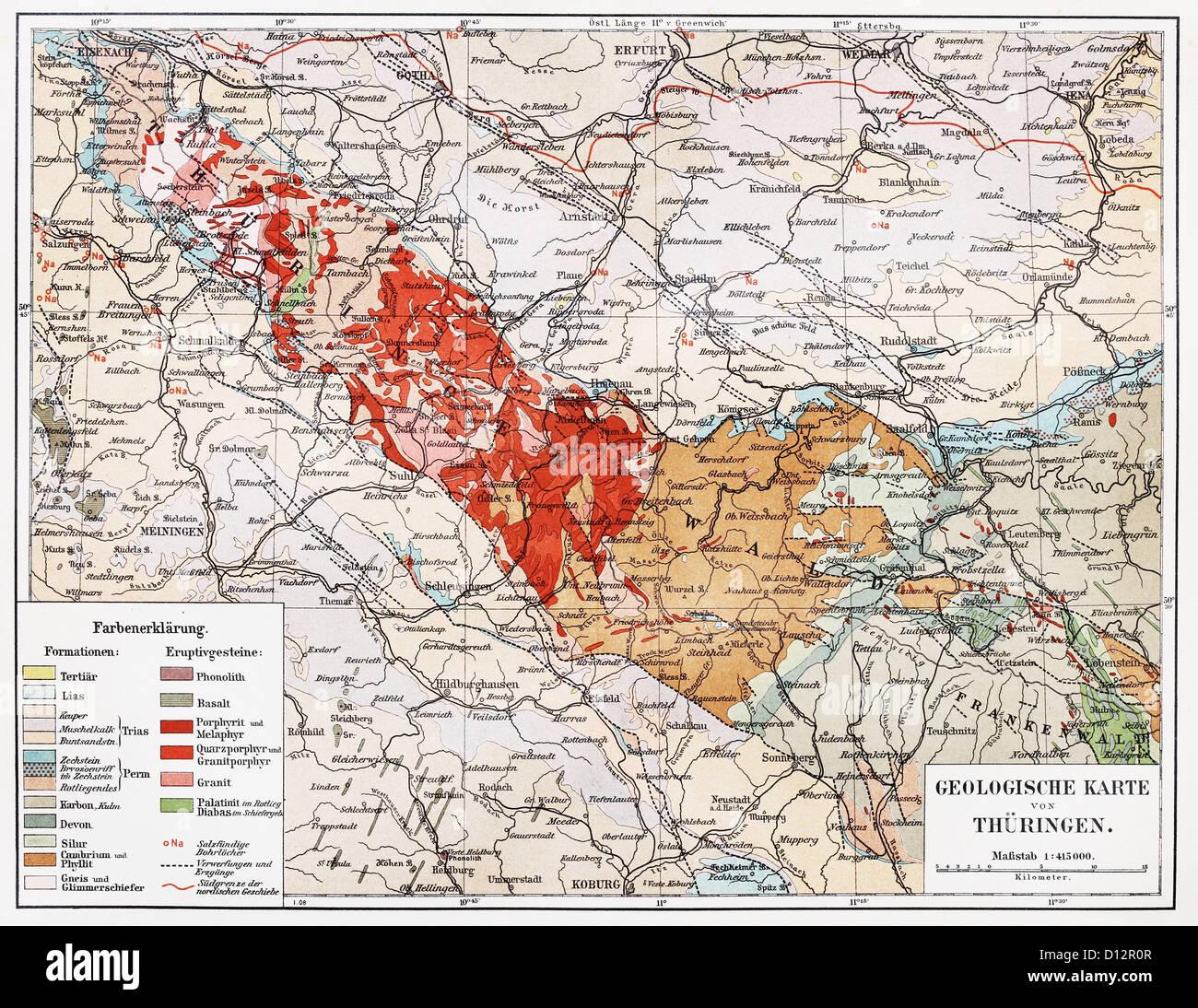 Vintage carte géologique de Thuringe à partir de la fin du 19e siècle Banque D'Images