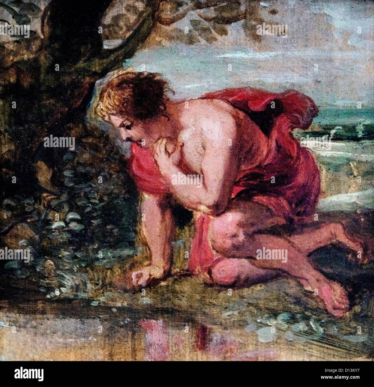 Narcisse tombe amoureux de son propre reflet, Peter Paul Rubens 1577 - 1640 Belgique esquisse pour la Torre Parada Photo Stock