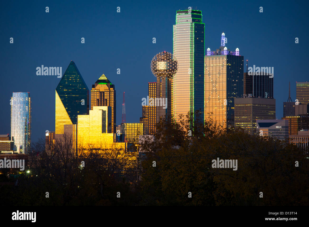 Dallas Downtown skyline at sunset Photo Stock