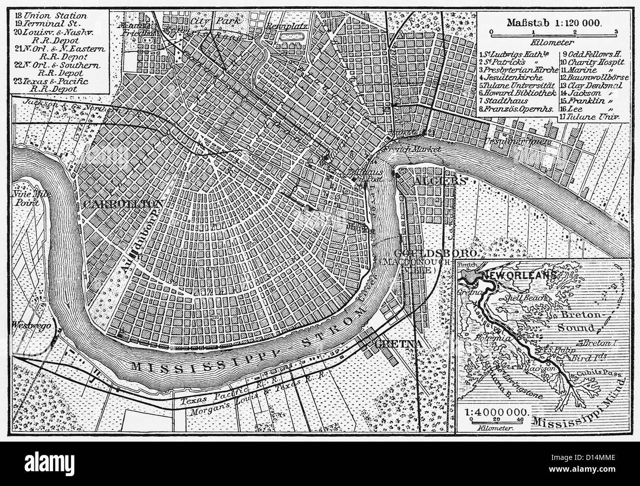 Vintage Carte De La Nouvelle Orleans A Partir De La Fin Du 19e Siecle Photo Stock Alamy