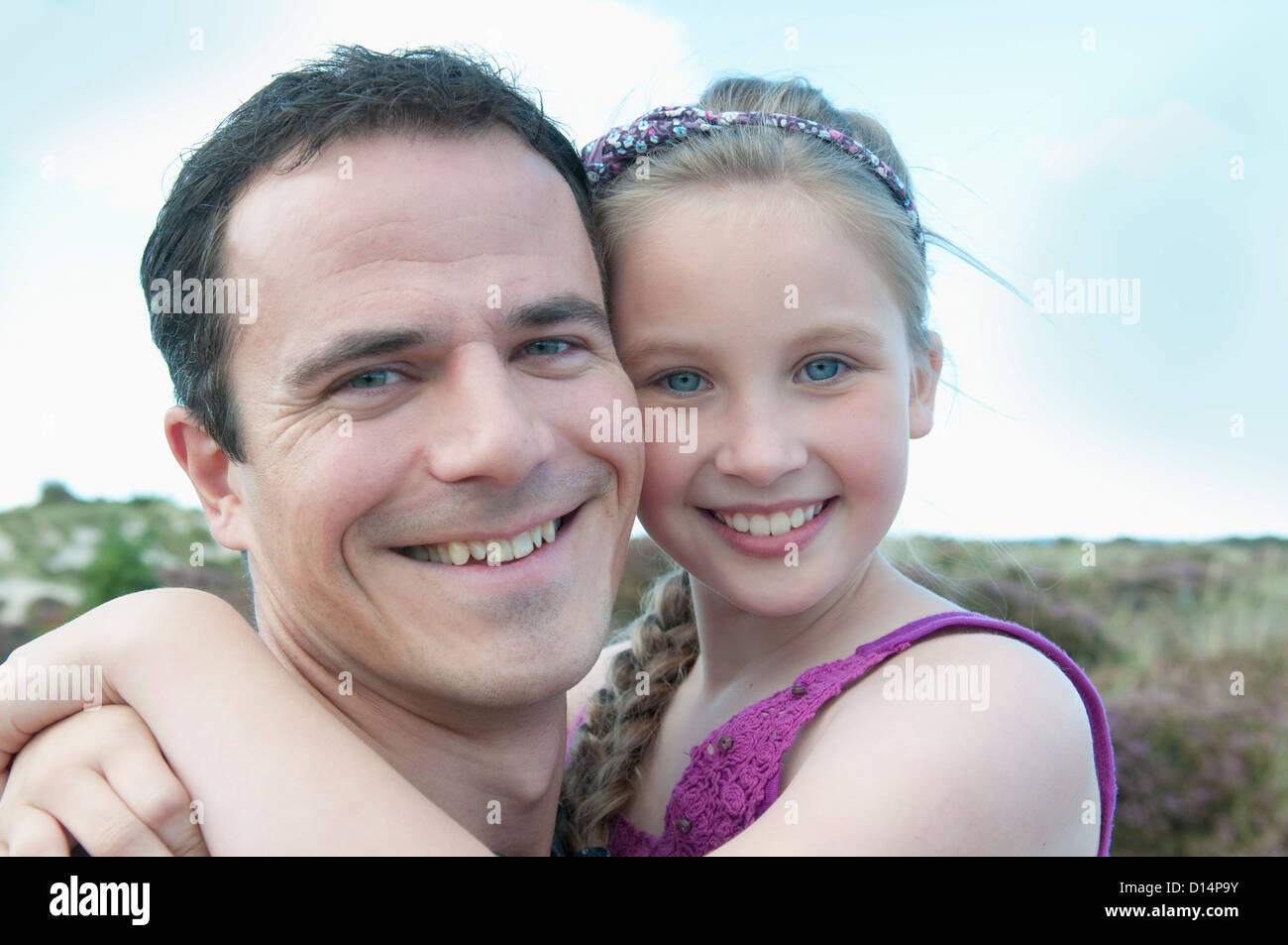 Père et fille smiling together Photo Stock