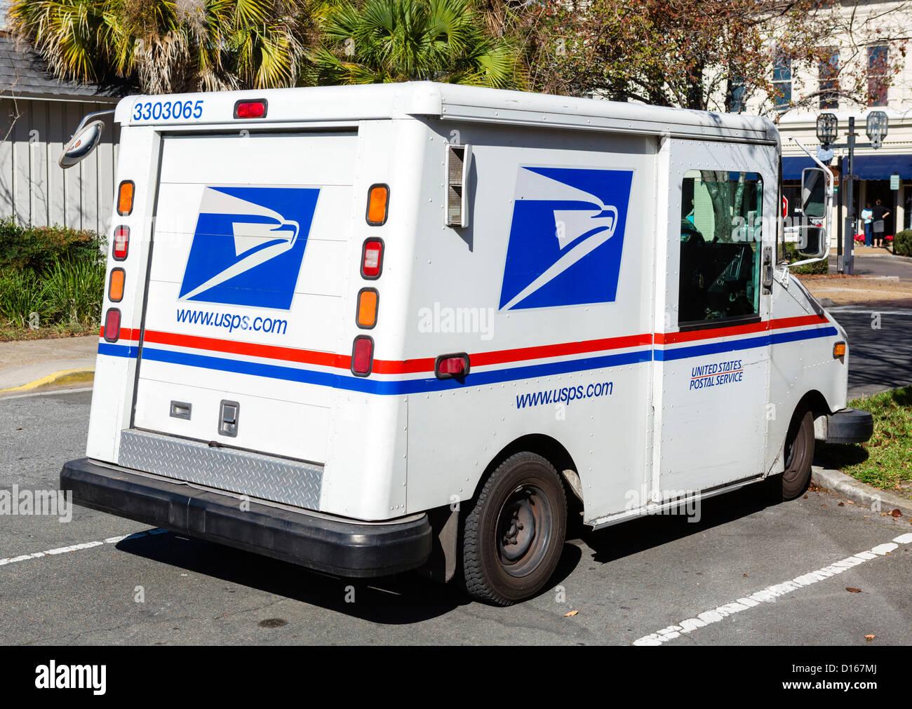 Camion de livraison USPS, Florida, USA Banque D'Images