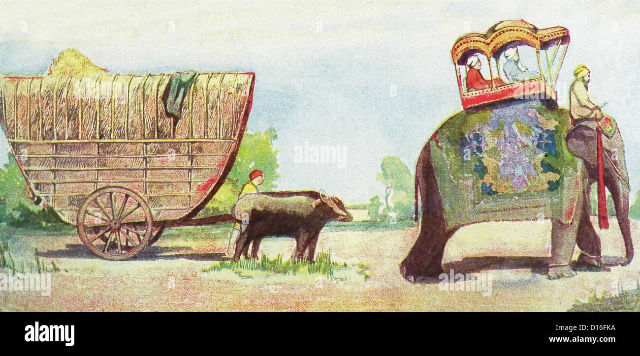 Modes de déplacement: panier avec couvercle en bambou à Bornéo et éléphant avec howdah Photo Stock