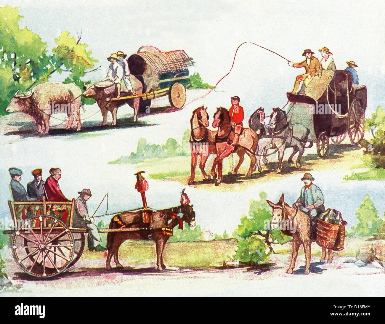 Modes de déplacement-Tagalog Philippines, en tandem, l'entraîneur Anglais, Espagnol charrette sicilienne et laitier. Banque D'Images