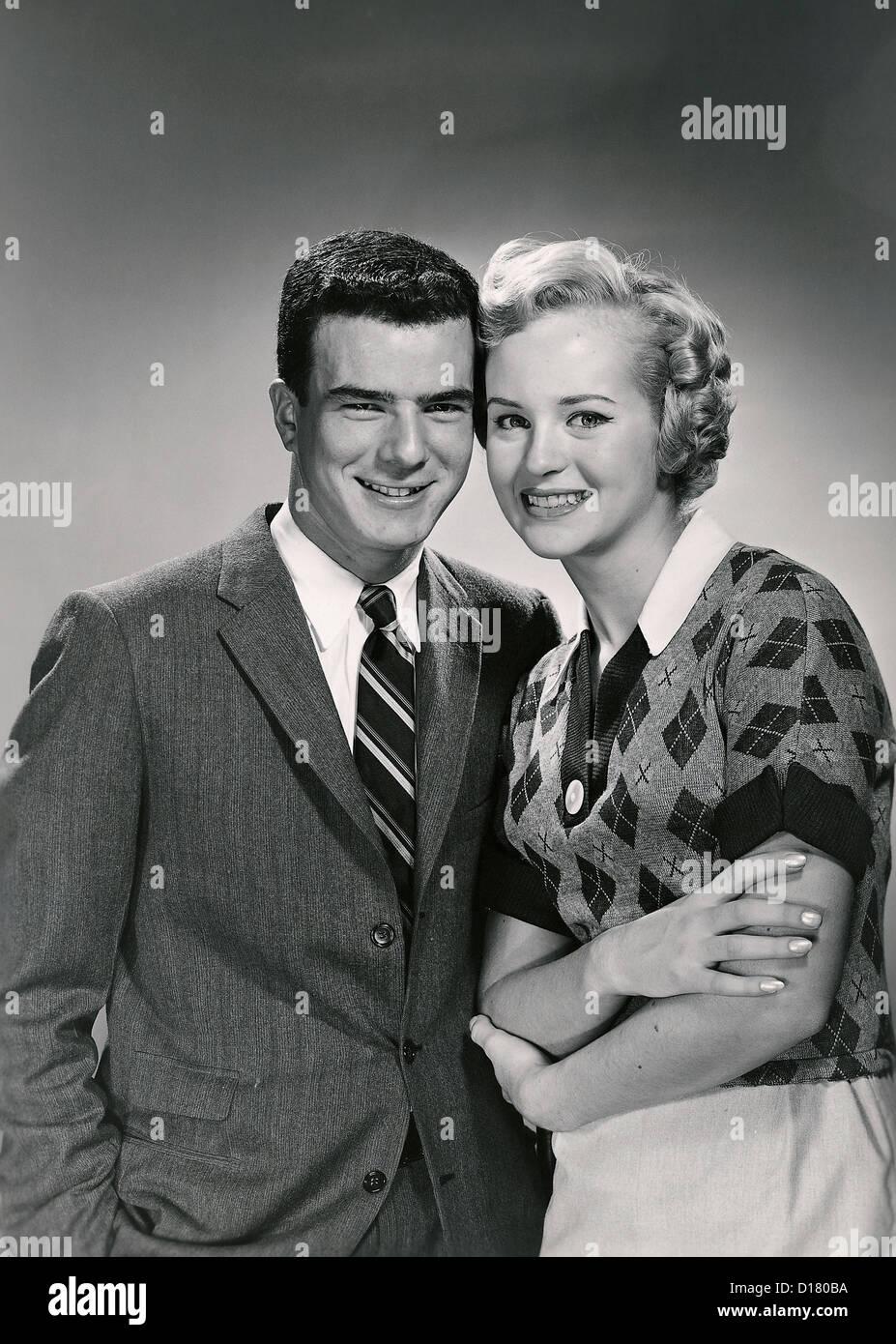 Vintage portrait of smiling couple Photo Stock