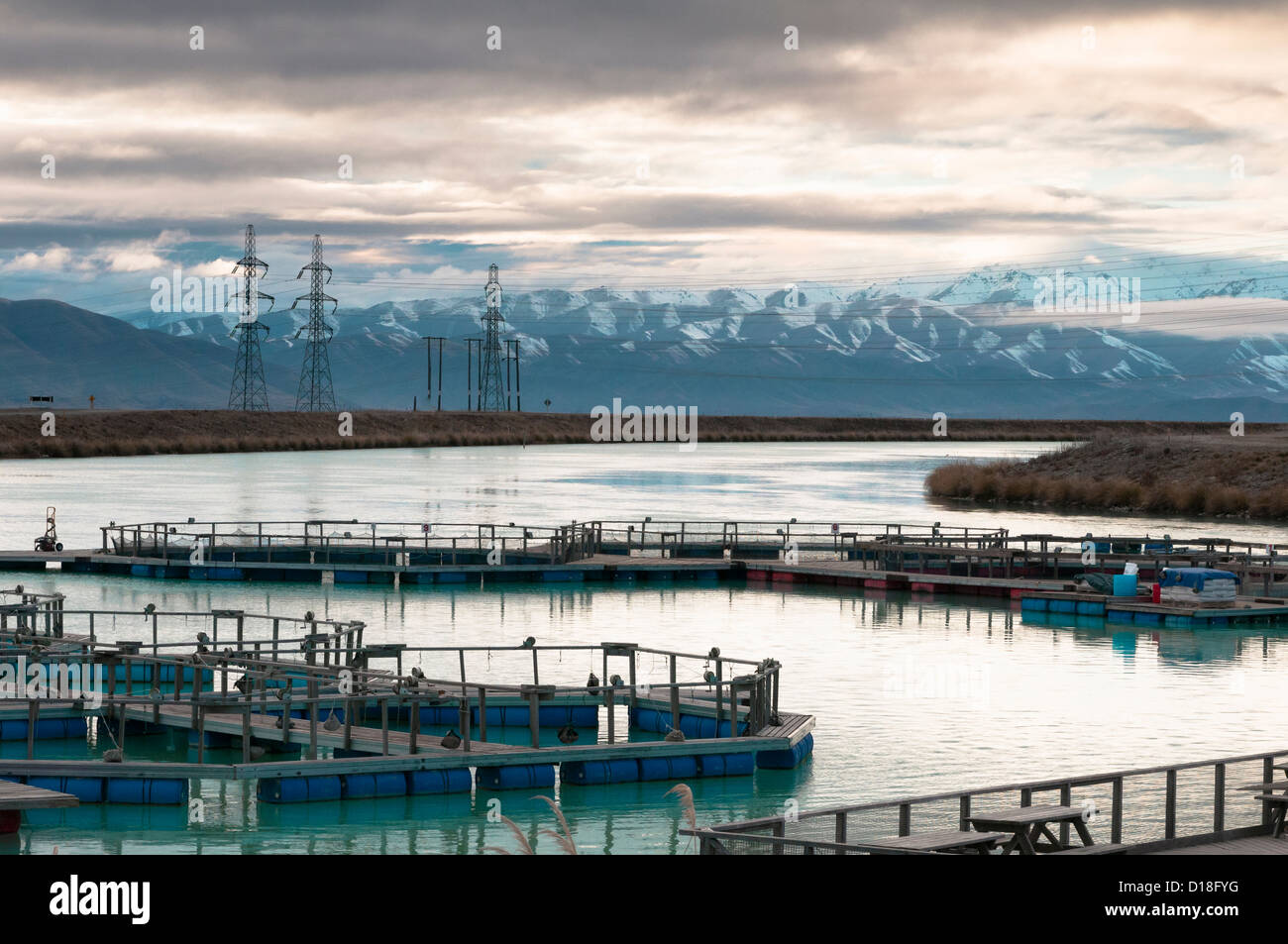 Fish Farm in rural landscape Photo Stock