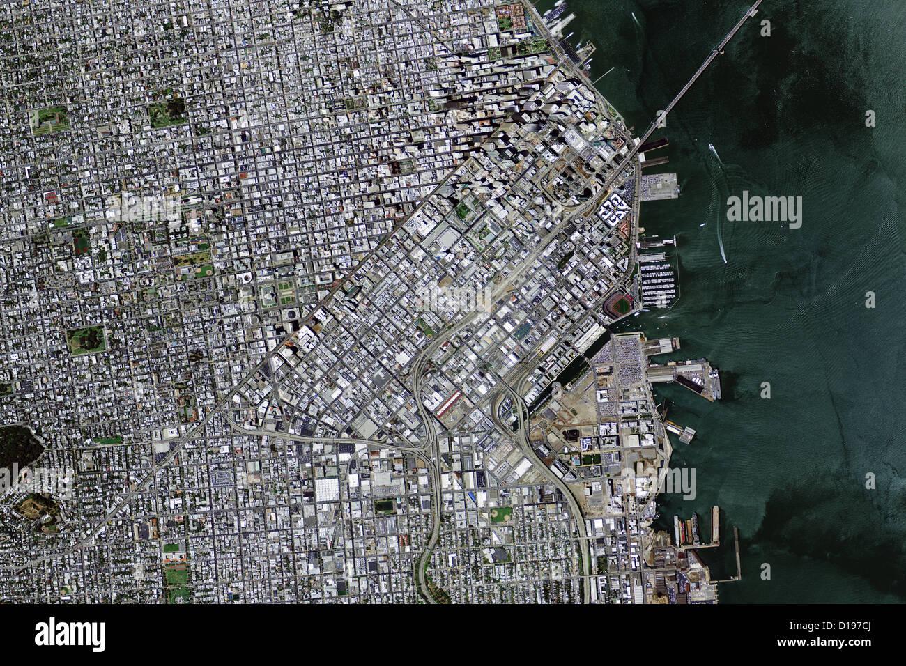 Carte aérienne voir au-dessus de San Francisco Californie Photo Stock
