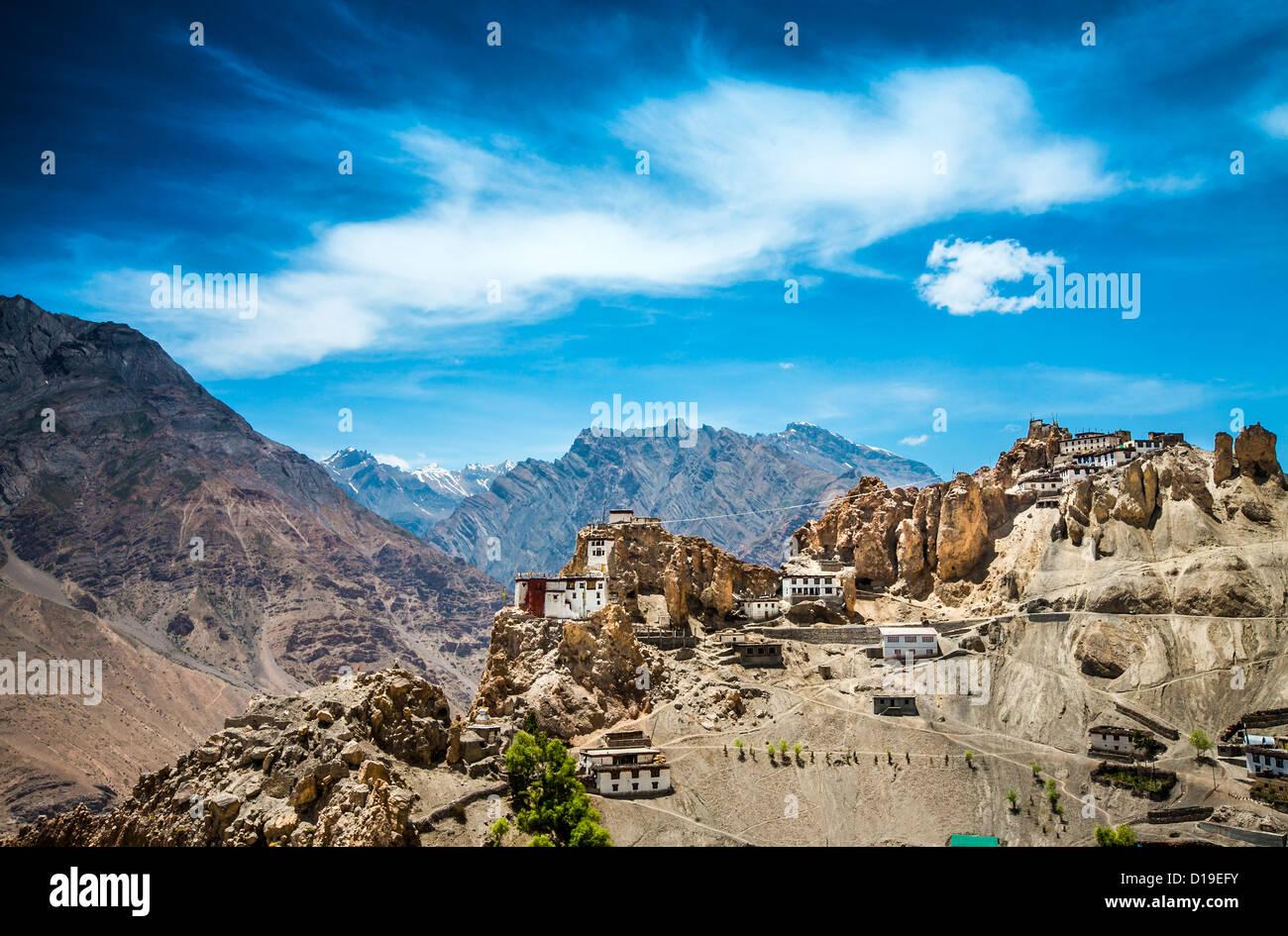 Dhankar gompa. La vallée de Spiti, Himachal Pradesh, Inde Photo Stock