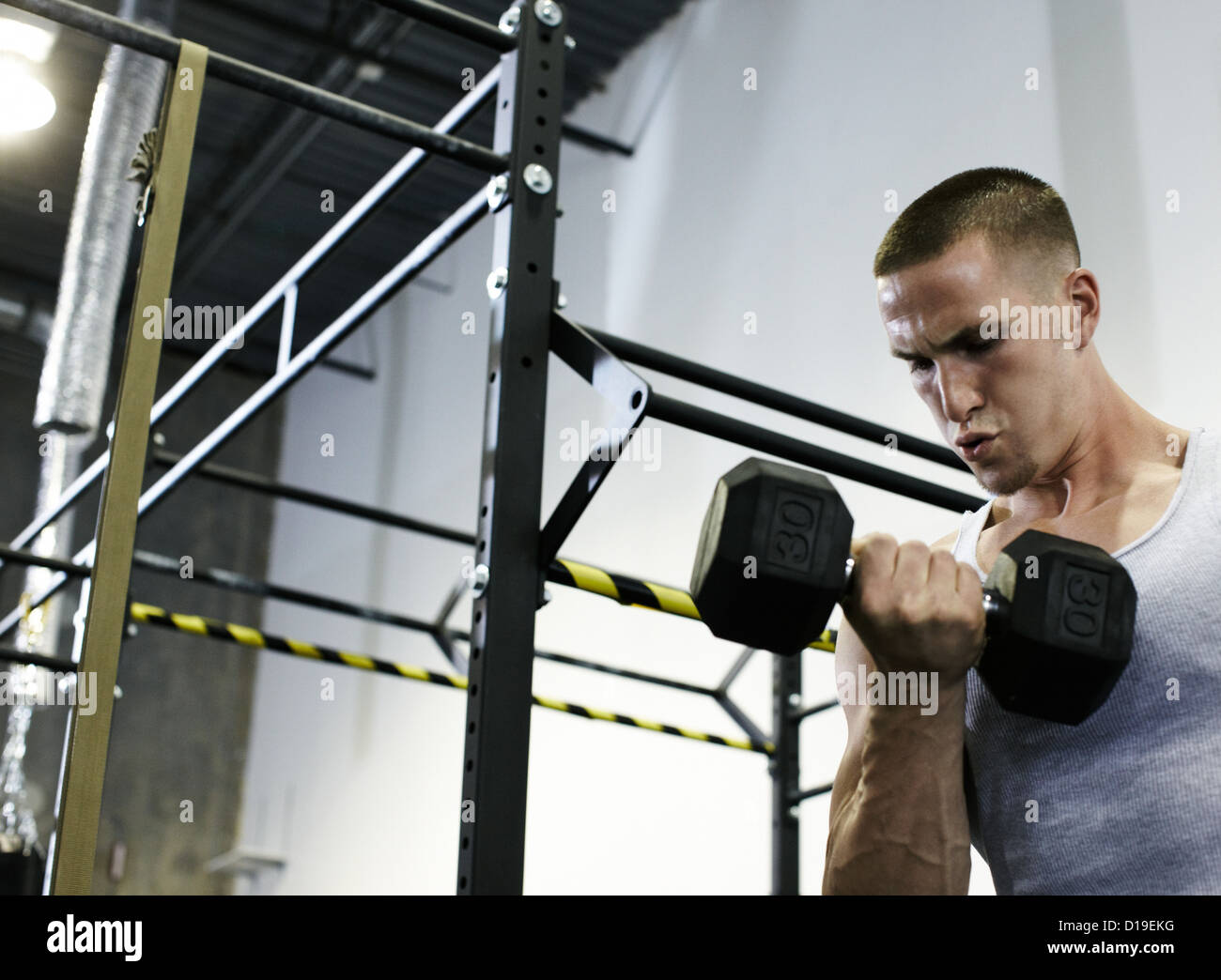 Man doing biceps in gym Photo Stock