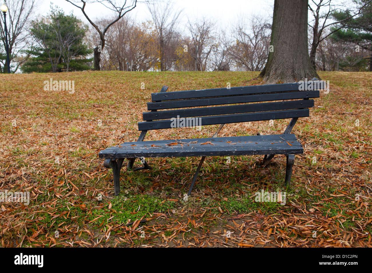 Banc de parc cassée Photo Stock