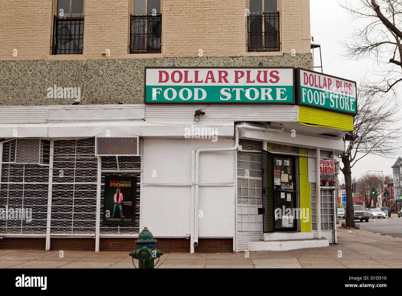 Dollar Food store Photo Stock