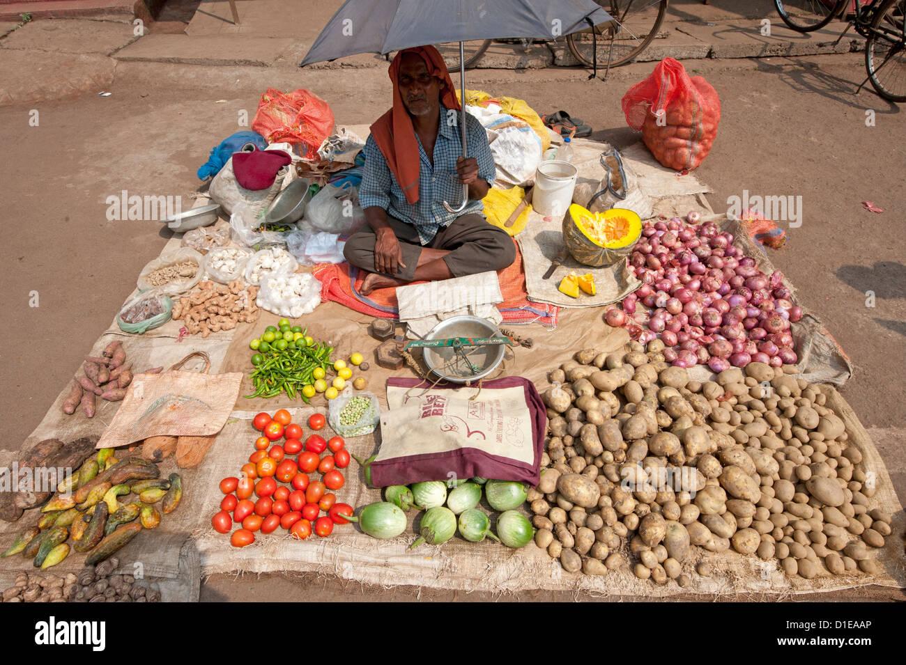Vendeur de légumes Village, district de Bhubaneshwar, Orissa, Inde, Asie Banque D'Images