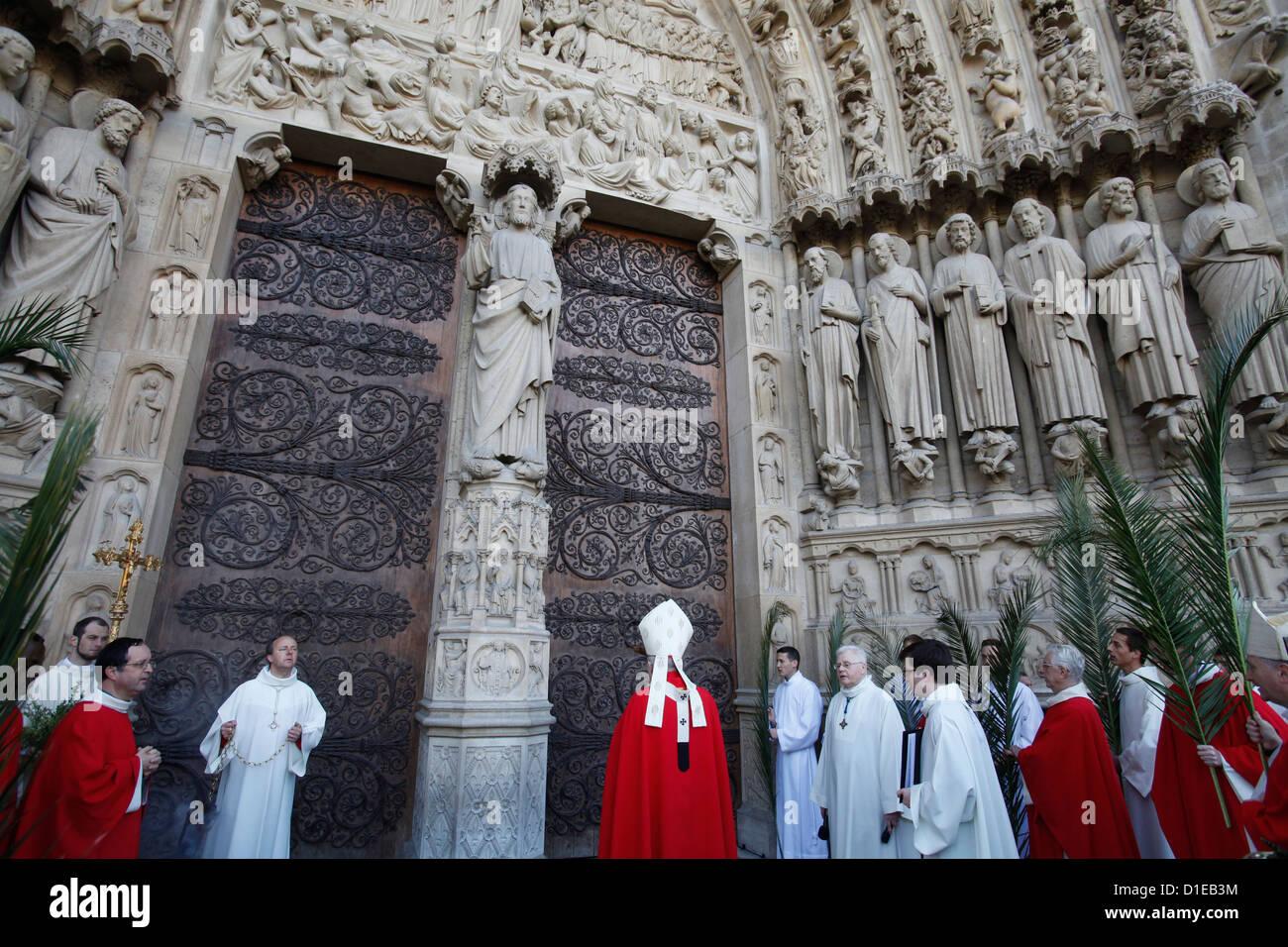 Dimanche des Rameaux à la Cathédrale Notre Dame, Paris, France, Europe Photo Stock