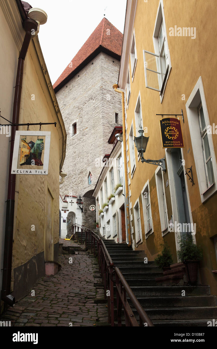 Couloir menant à Toompea, dans le site du patrimoine mondial de l'centre de Tallinn, Estonie, Europe Photo Stock