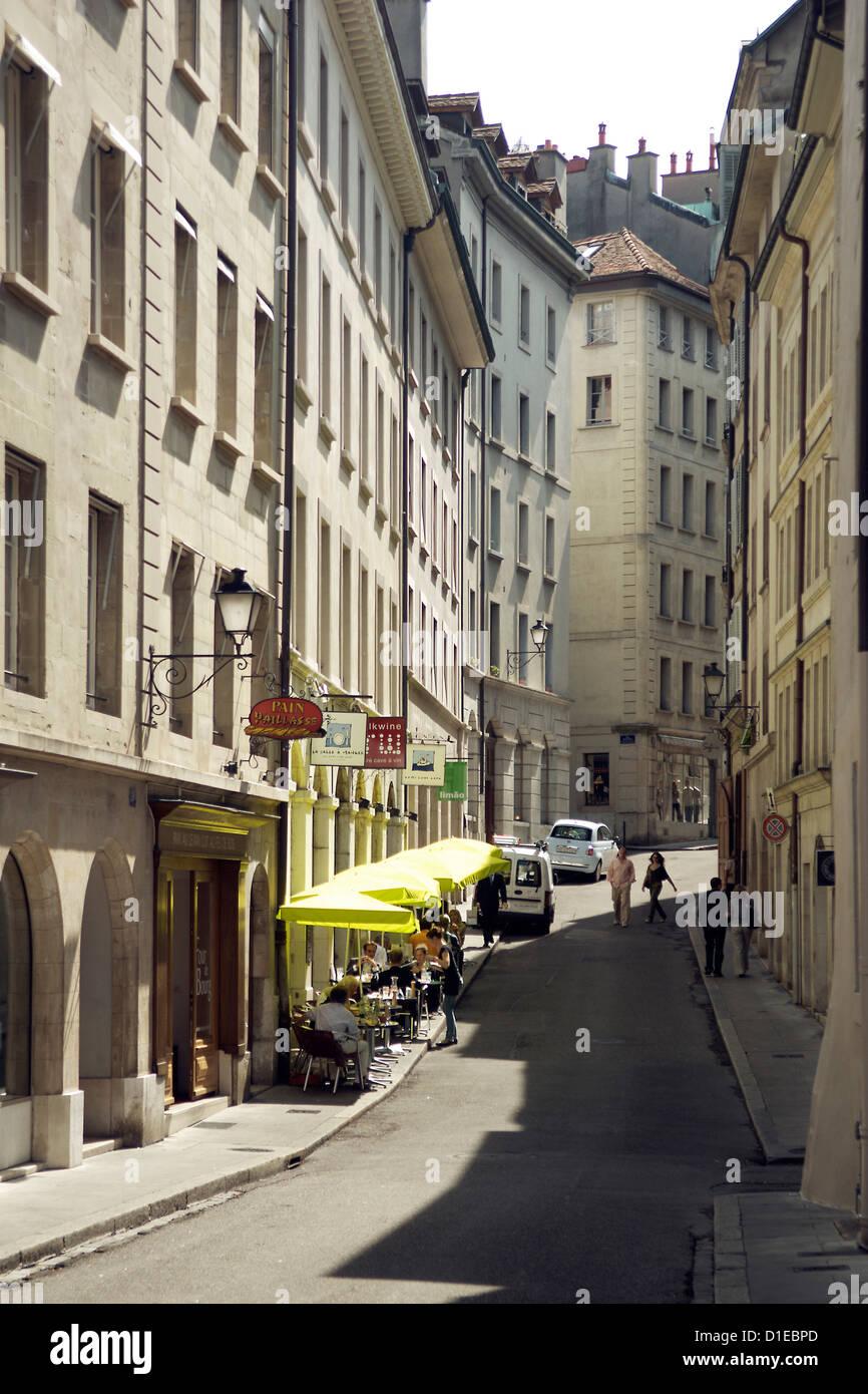 Des scènes de rue de la vieille ville de Genève, Genève, Suisse, Europe Photo Stock