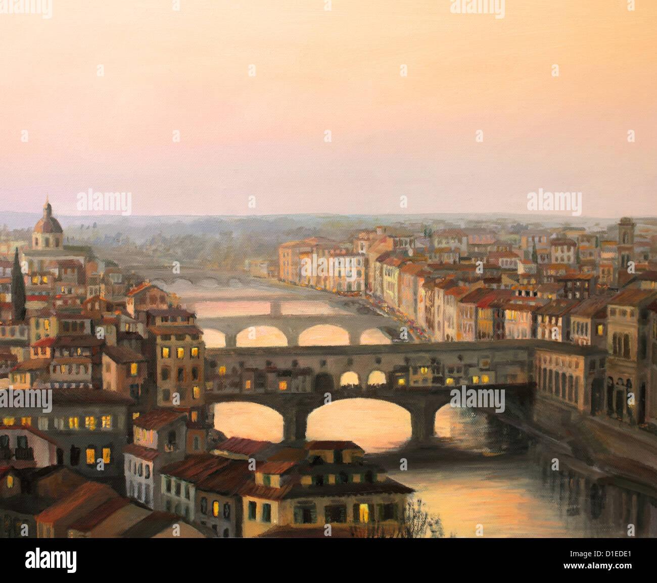 Coucher de soleil sur Florence avec la rivière et le ponte Vecchio en lumière chaude. Photo Stock