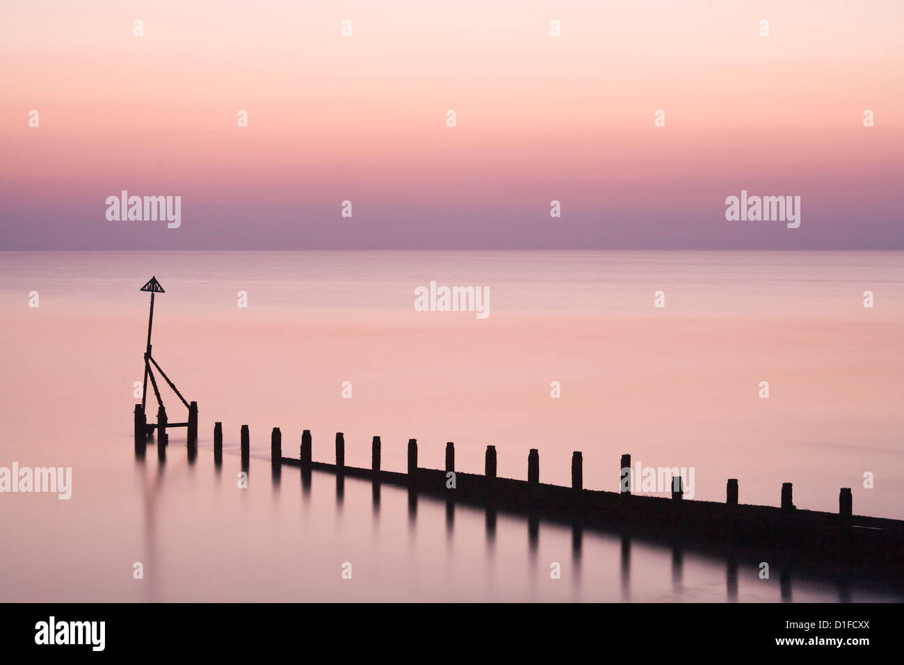 Selsey Bill au coucher du soleil, Selsey, West Sussex, Angleterre, Royaume-Uni, Europe Photo Stock
