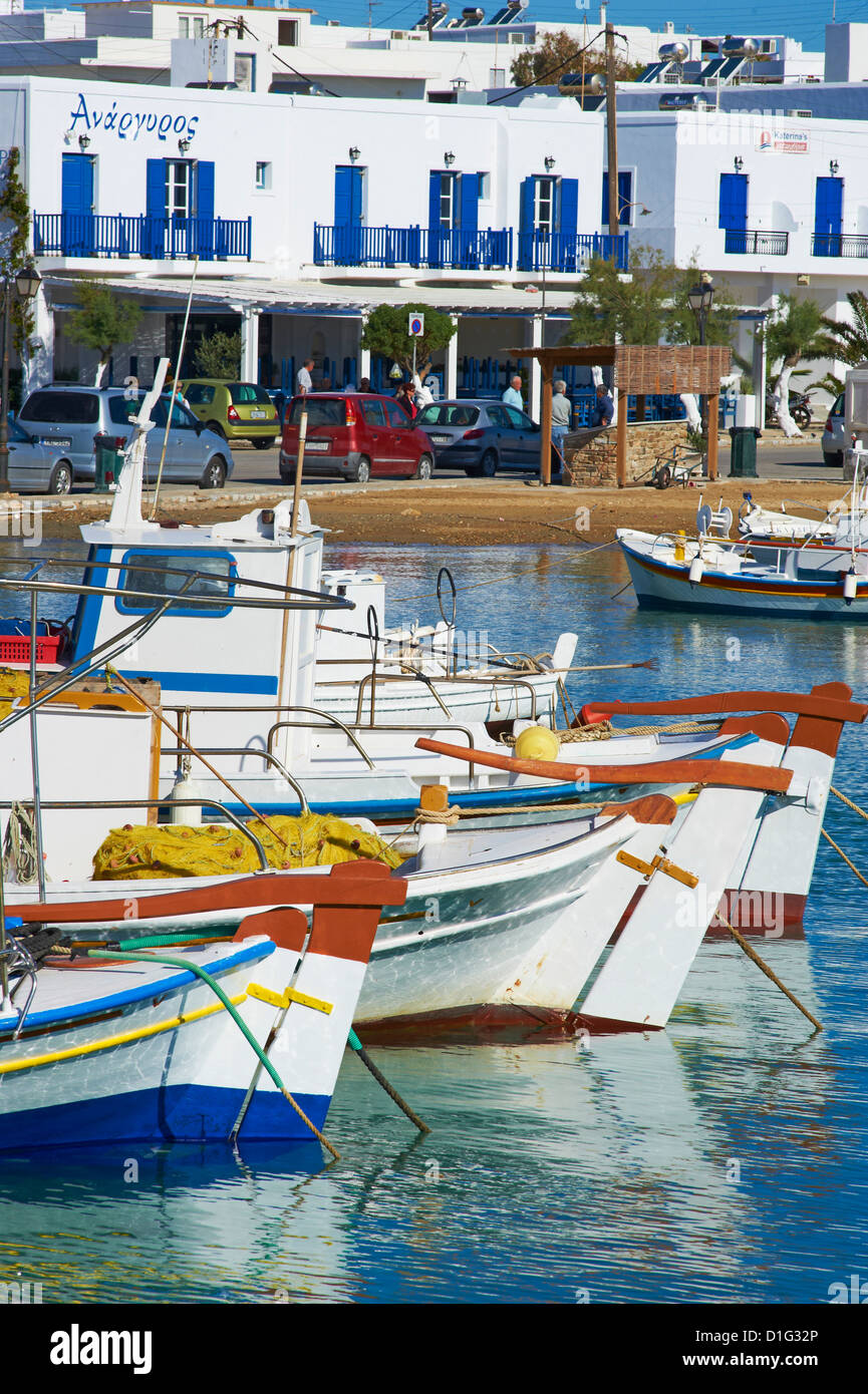 Port, Kastro, Antiparos, Paros, Cyclades, Mer Égée, îles grecques, Grèce, Europe Photo Stock