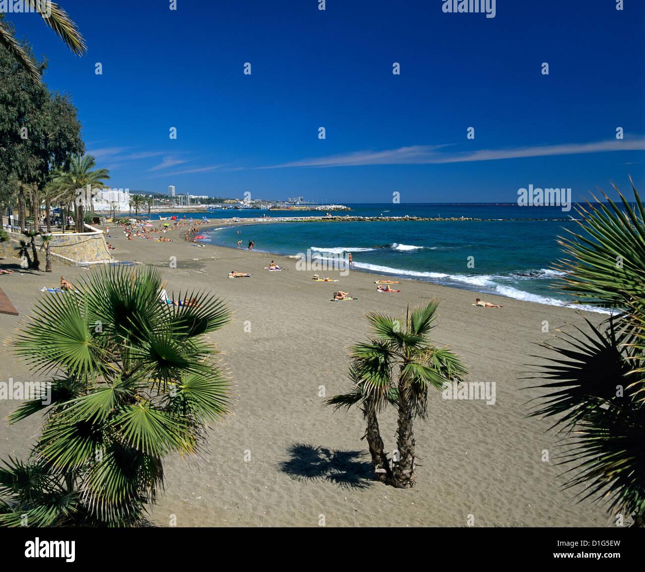 Afficher le long de la plage, Marbella, Costa del Sol, Andalousie, Espagne, Méditerranée, Europe Photo Stock