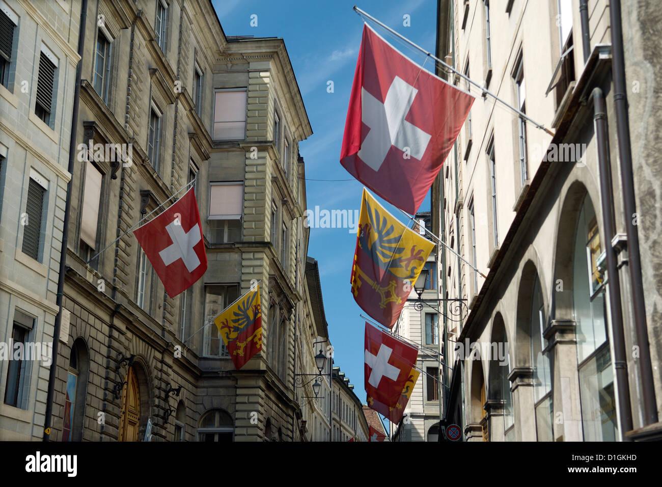 Des scènes de rue dans la vieille ville de Genève, Genève, Suisse, Europe Photo Stock