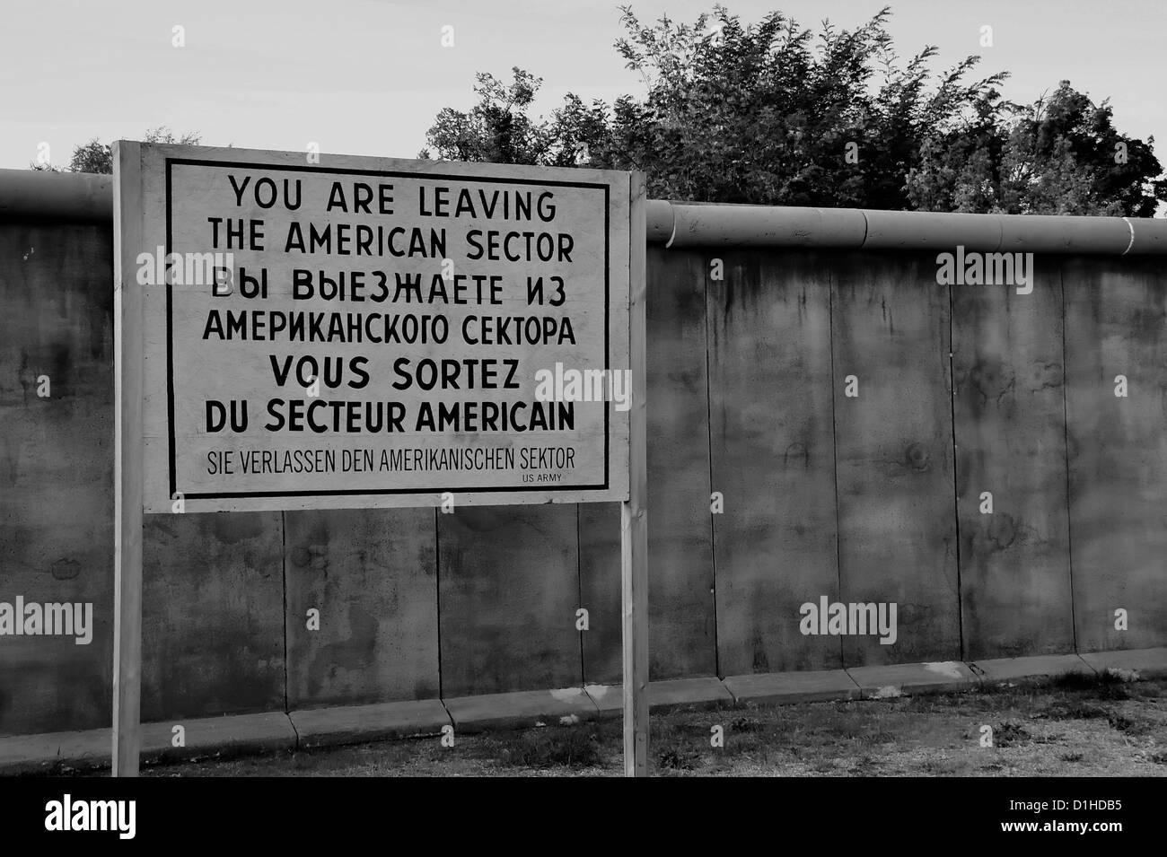 Mur de Berlin dans le secteur américain Photo Stock