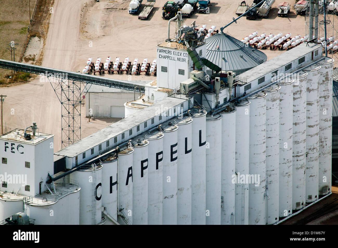 Photographie aérienne les agriculteurs exploitant de silo, Chappell, Nebraska Photo Stock
