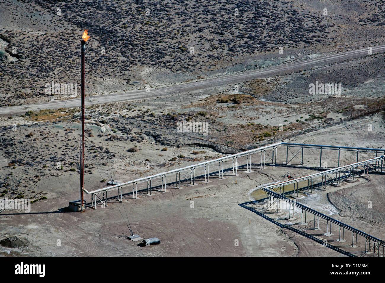 Photographie aérienne du sud de l'évasement de gaz naturel Wyoming Banque D'Images