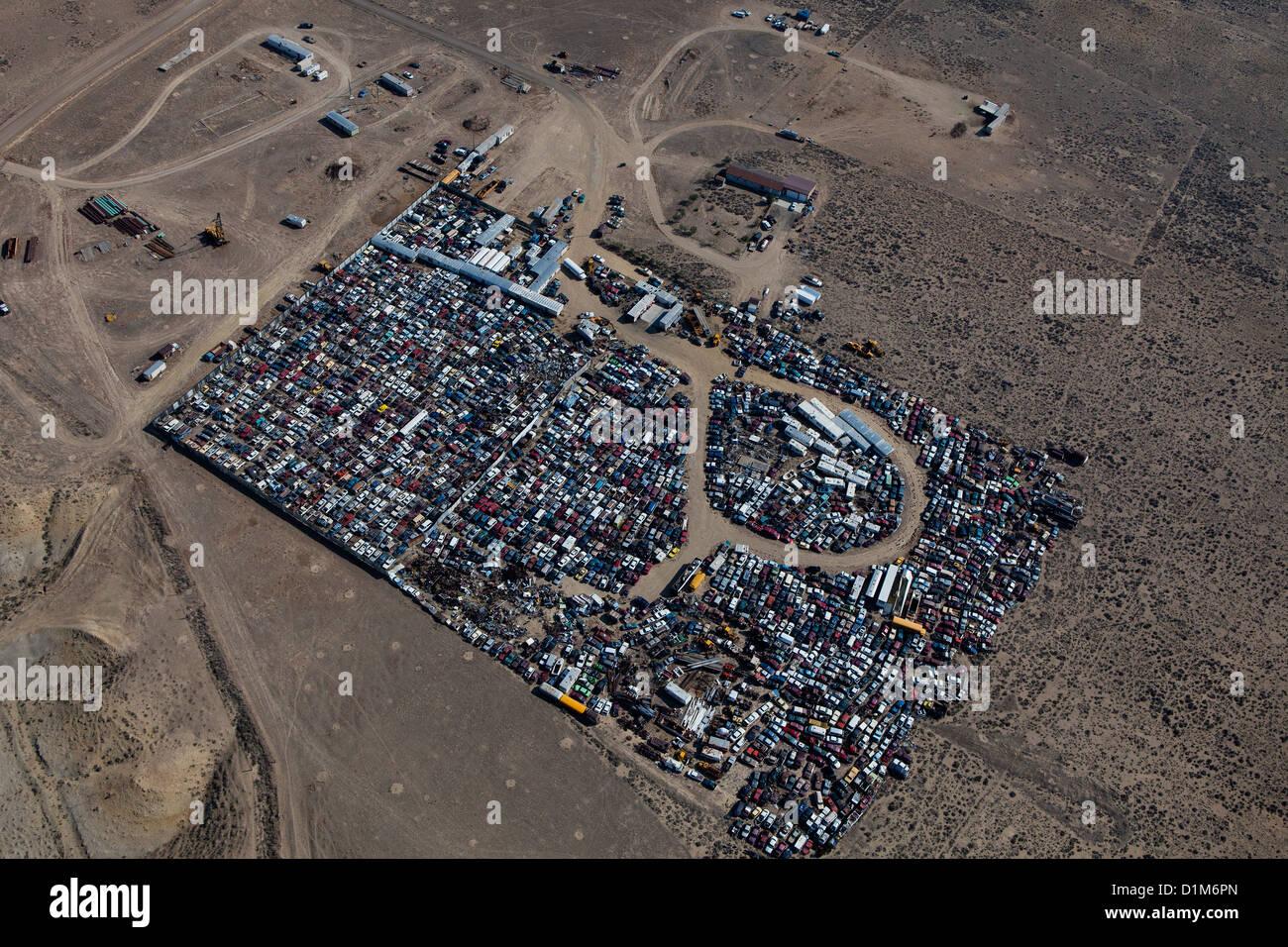 Photographie aérienne du sud du Wyoming casse automobile Photo Stock