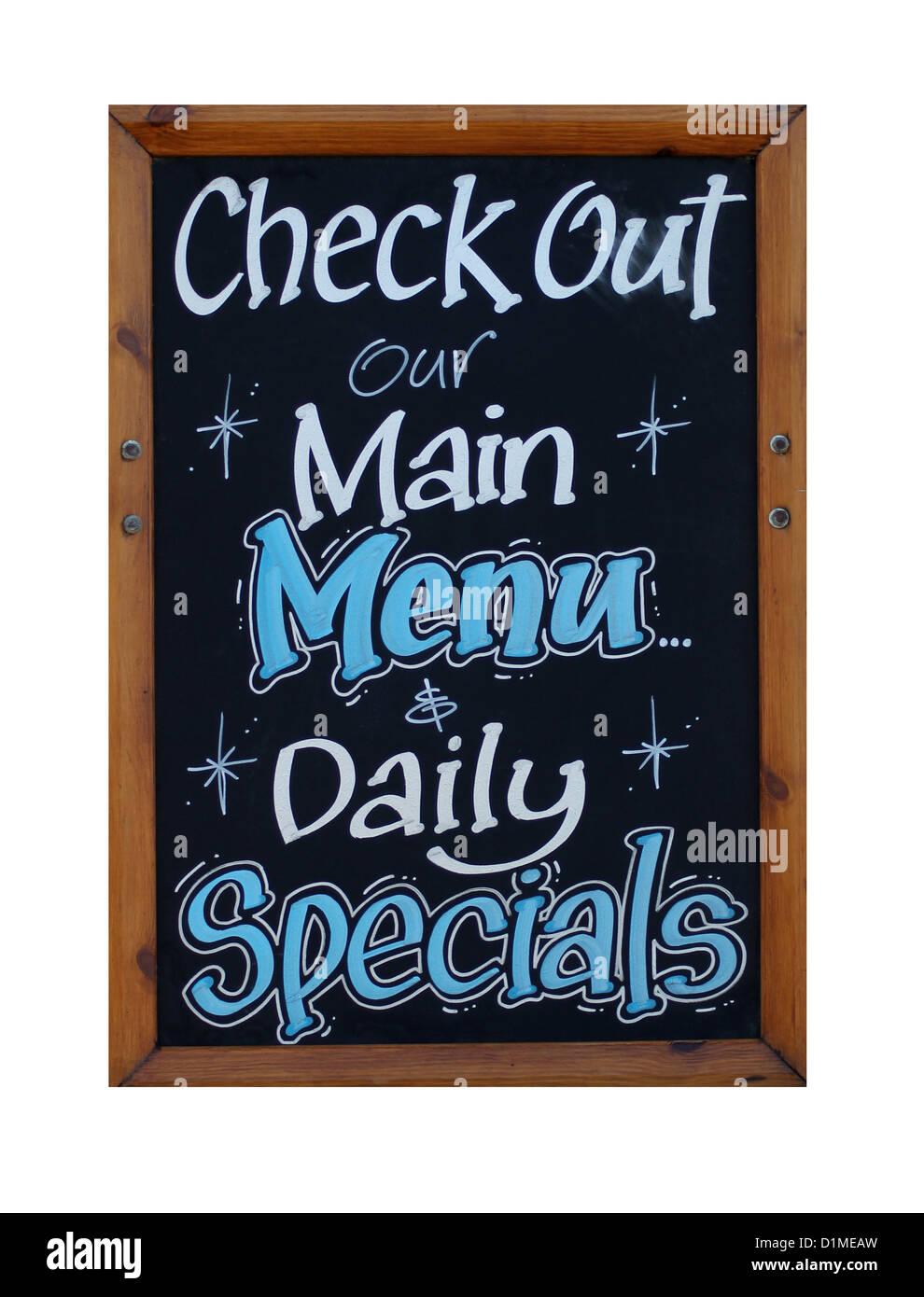 Menu principal et des plats du jour signe isolé sur fond blanc. Photo Stock
