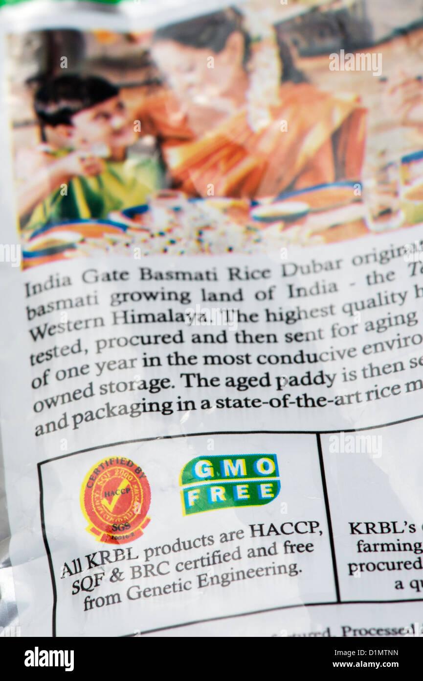 Indian organisme génétiquement modifié gratuitement, de l'étiquette de paquet. Sans OGM Photo Stock