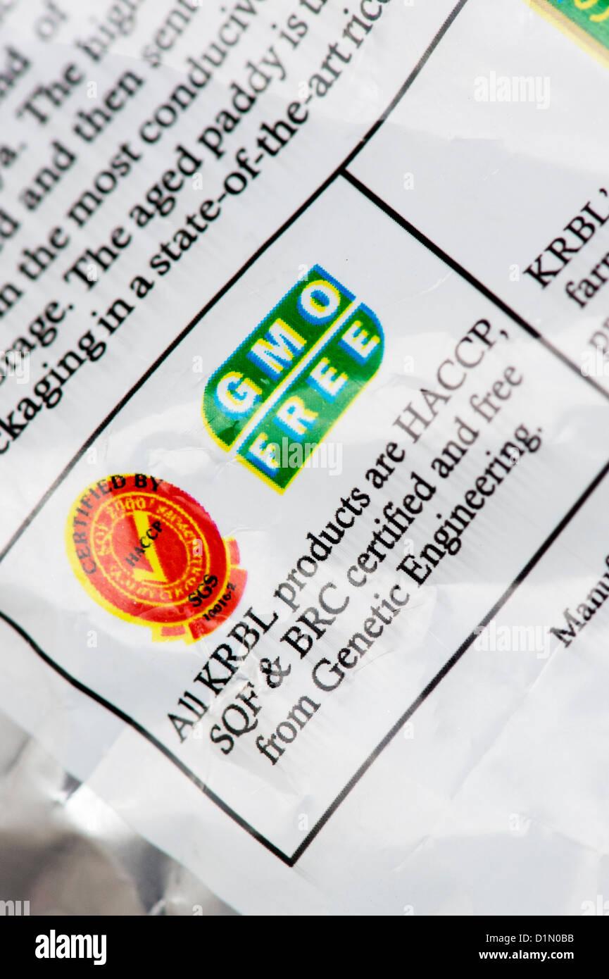 Organisme génétiquement modifié indien paquet libre de l'étiquette des aliments. Sans OGM Photo Stock