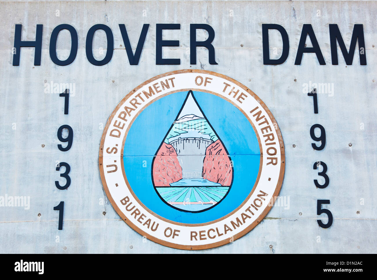 Le barrage Hoover, signer à la Hoover Dam visitor center NEVADA USA United States of America Photo Stock
