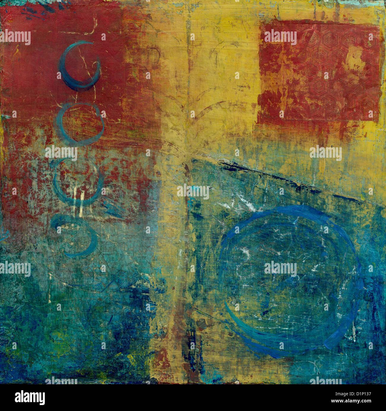 La peinture abstraite avec les couleurs rouge, bleu et jaune. Photo Stock