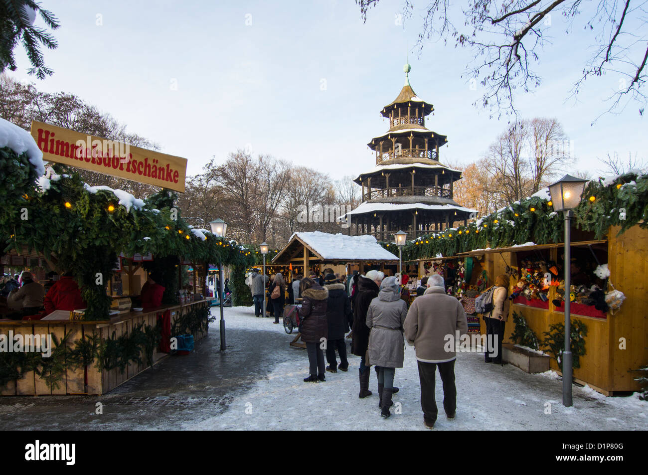 Marché de Noël à la Tour Chinoise dans le Jardin Anglais de Munich, Allemagne, Haute-Bavière Banque D'Images