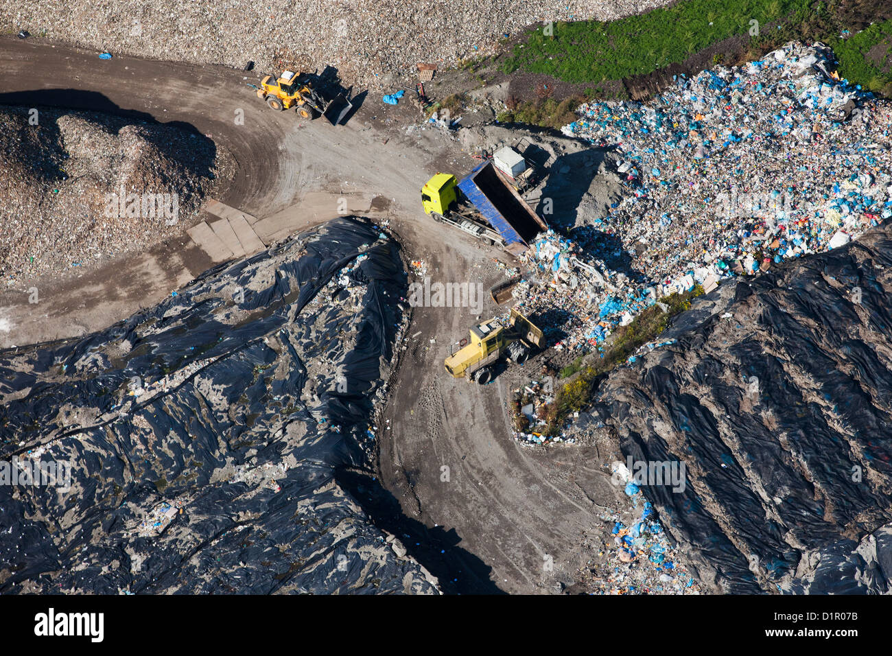 Les Pays-Bas, Hengelo, compagnie d'incinération des déchets. Vue aérienne. Photo Stock