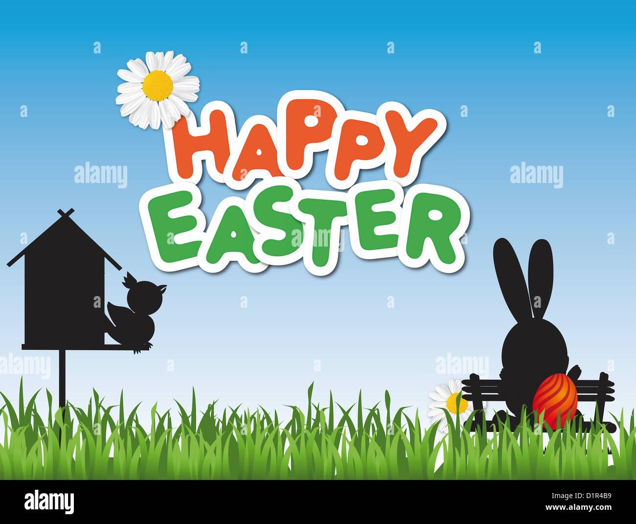 Joyeuses Pâques carte avec une cabane et un lapin de Pâques sur un banc de parc Photo Stock