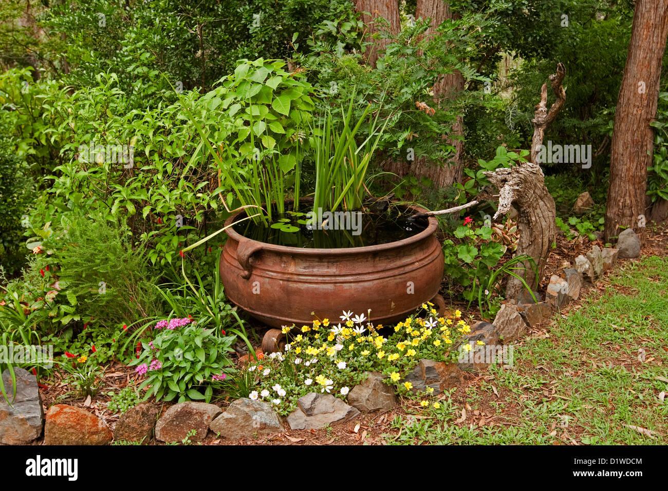 Grand chaudron rouillé - étang à poissons / jardin d\'eau avec des ...