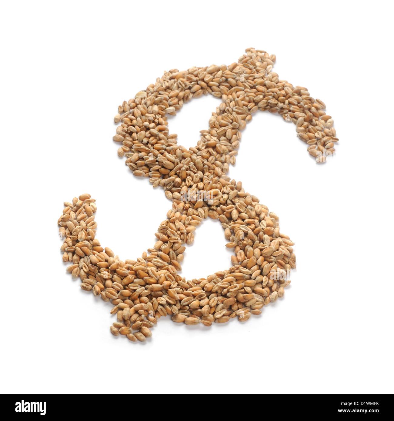 Les grains de blé en forme de dollar sign Photo Stock