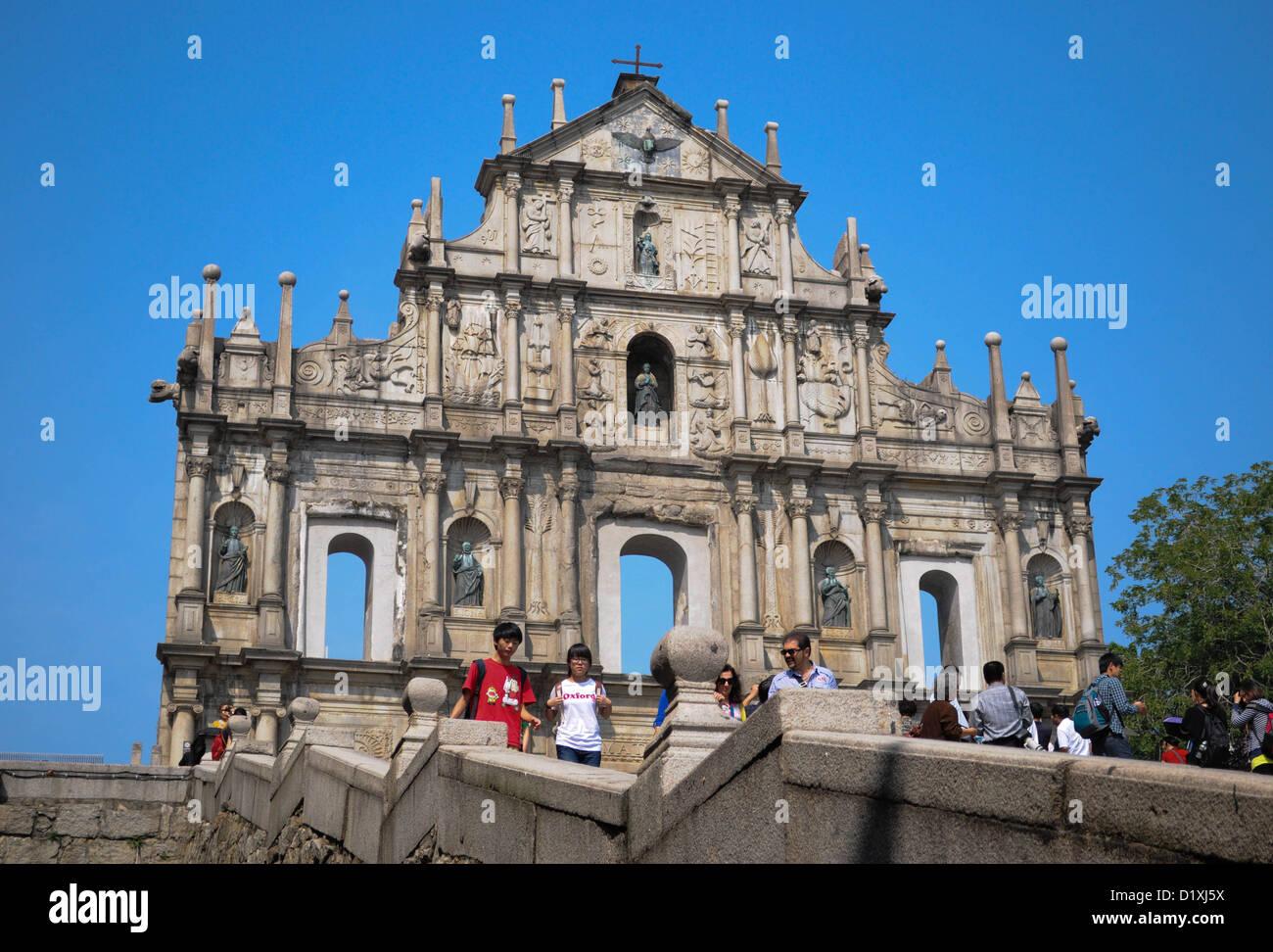 Ruines de St Paul, l'icône de Macao Photo Stock
